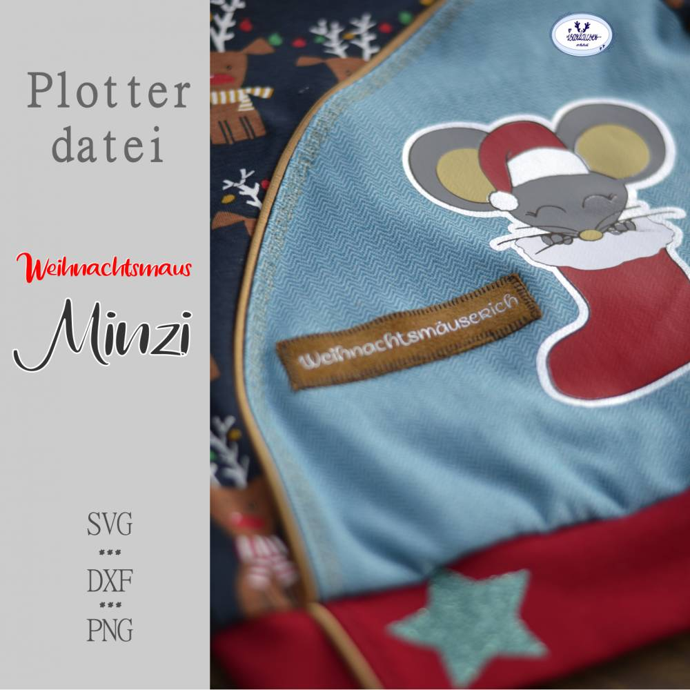 Plotterdatei Maus Minzi *Weihnachtsedition* Bild 1