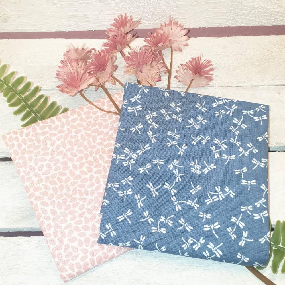 Stoffpaket Nähpaket Westfalenstoff Kyoto Blätter Libellen Bauwollstoff Zuschnitte Blau Rosa Weiß Baumwolle Webware Ökote Bild 1