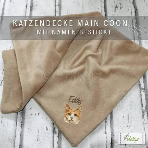 Katzendecke mit Namen und Main Coon Stickerei