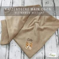 Katzendecke mit Namen und Main Coon Stickerei Bild 1