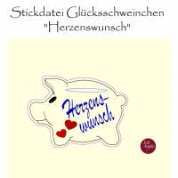 """Stickdatei  """"Wunscherfüller GLÜCKSSCHWEINCHEN Herzenswunsch""""  Bild 1"""