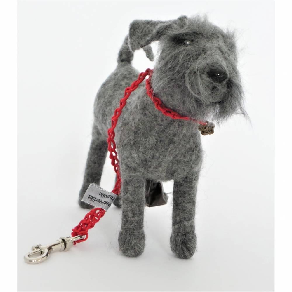Kotbeutelspender Schnauzer grau aus Filz, Gassitäschchen, Etui für Kotbeutel, Hunde Accessoires, Tasche für Kotbeutel Bild 1
