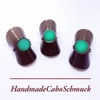 12mm Cabochon Ring - Polaris matt grün, Edelstahl, Schwarz, Bronze Bild 1