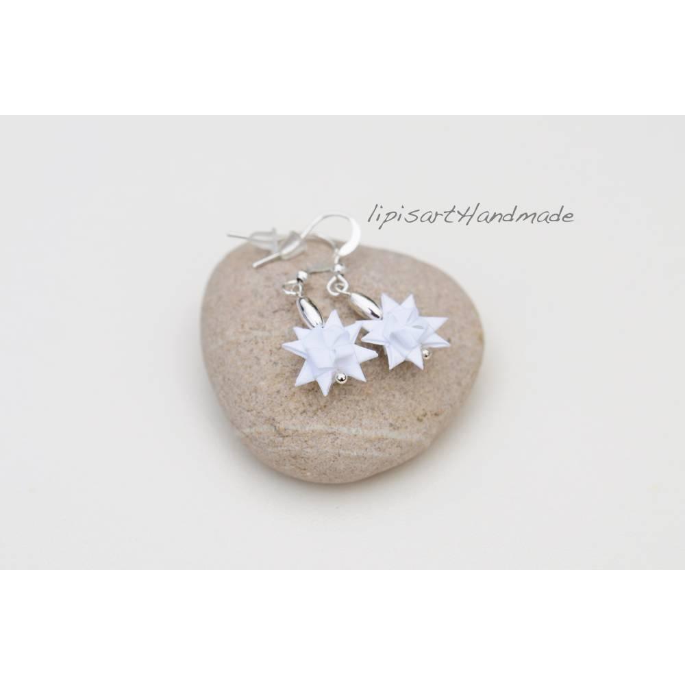 Ohrringe – Mini Fröb. Sterne Weiß Papier Bild 1