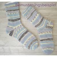 Handgestrickte Socken, Damensocken , 35/36 (Fußlänge ca. 22-23 cm)  blau hellblau grau violett bemustert, 75%Wolle-25% P Bild 1
