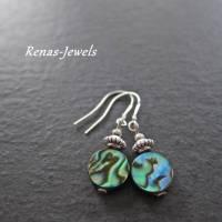 Ohrhänger Abalone Paua Perlmutt Ohrringe Regenbogenfarben Bild 1