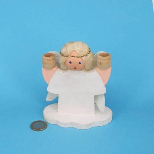 Weißer Holzengel für Kerzen mit langem blondem Haar