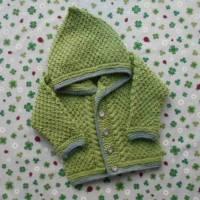 Strickjacke mit Kapuze Größe 80/86 für Junge grau grün Kapuzenpulli Trachtenjacke Pullover handgestrickt Taufkleidung  Bild 1