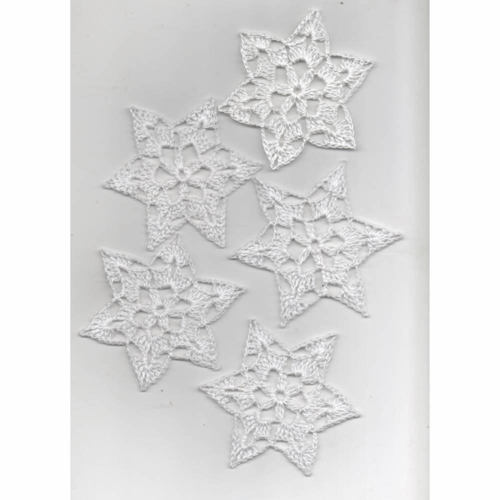 5er Set Weihnachtssterne weisses Baumwollgarn- gehäkelt-Baumbehang-Weihnachtsdeko Bild 1