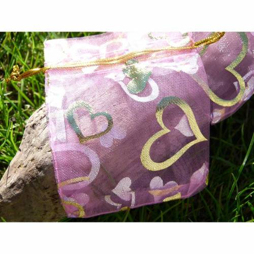 30 rosane Organzasäckchen 7x9 cm * goldene Herzen * Geschenksäckchen * Geschenkverpackung * Schmuckverpackung * Schmucks