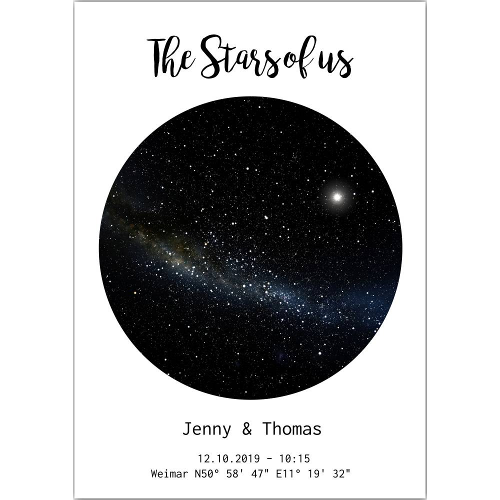 Sternenkarte   the Stars of us I personalisierbarer Kunstdruck I  Sternenhimmel Nachthimmel Sternzeichen