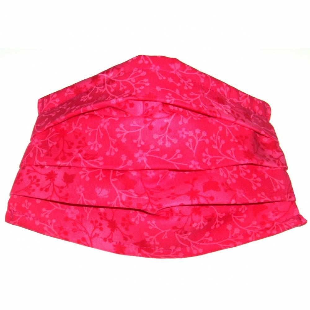 """MuNaske - Behelfs-Mund-Nase-Maske """"Ranken Pink"""", Größe M, genäht aus Baumwollstoff, mit Nasenbügel - Was Bild 1"""