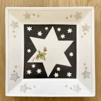 Weihnachtsteller Porzellan handbemalt mit Ilex Bild 1