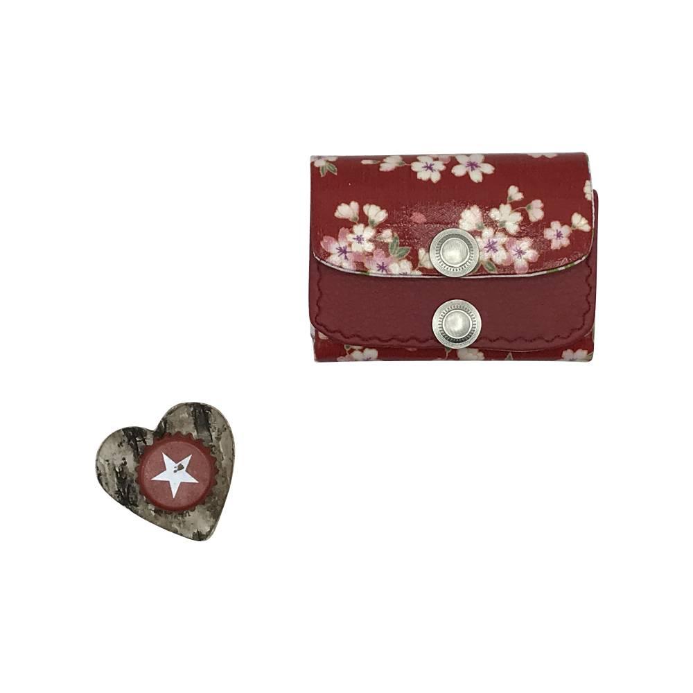 Geldbörse Geldbeutel Geldtasche - beschichtetes Leinen Kunstleder Asia Kirschblüten Bild 1