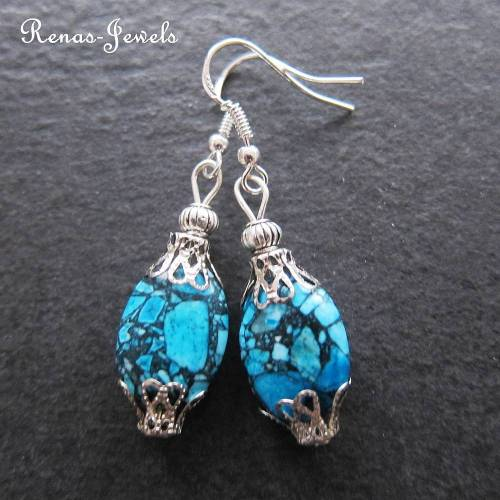 Edelstein Ohrhänger Türkis Ohrringe Perlen blau marmoriert