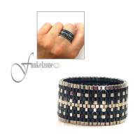 Peyotering im modischen Design | Höhe 14 mm | Peyote rings | Myuki Delicas 15/0 | Bandring | schwarzer Ring Bild 1