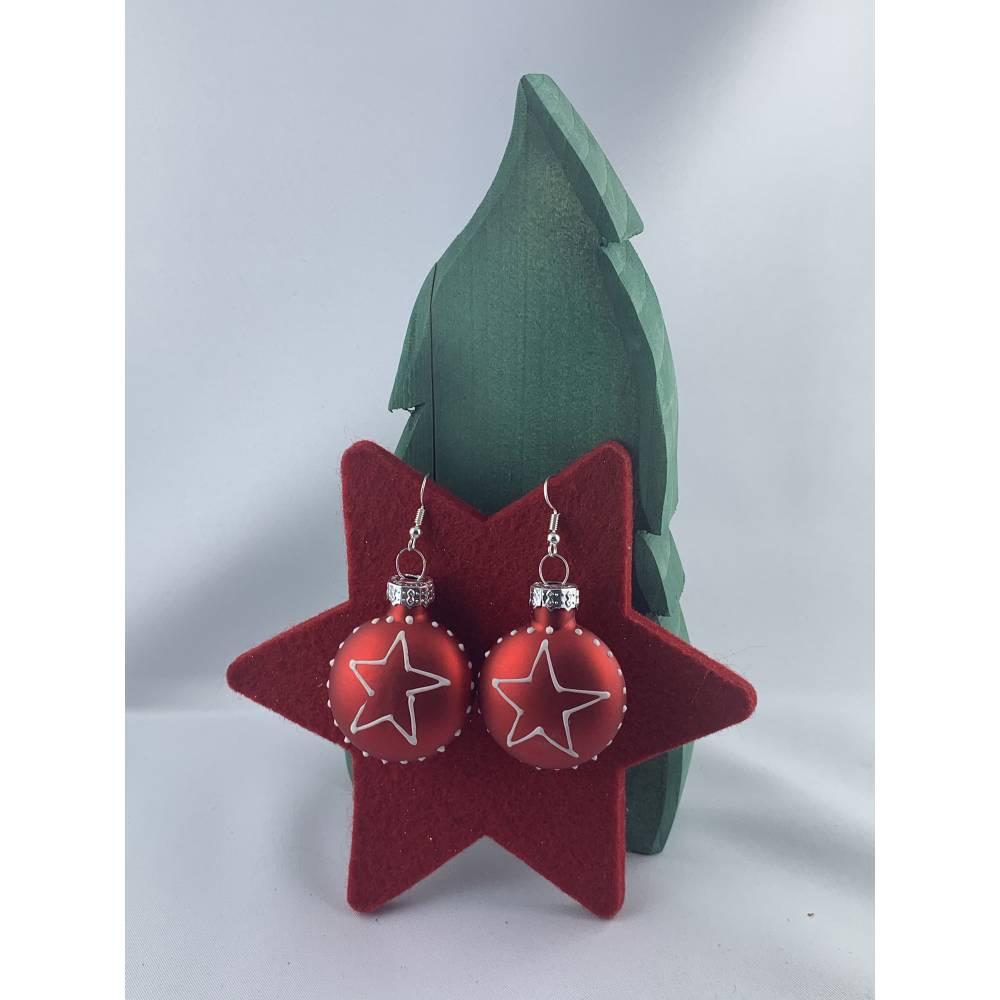 3cm, runde flache rote, matte Weihnachtskugel-Ohrringe mit Stern * Weihnachtsohrringe * Weihnachtskugelohrringe * Christ Bild 1