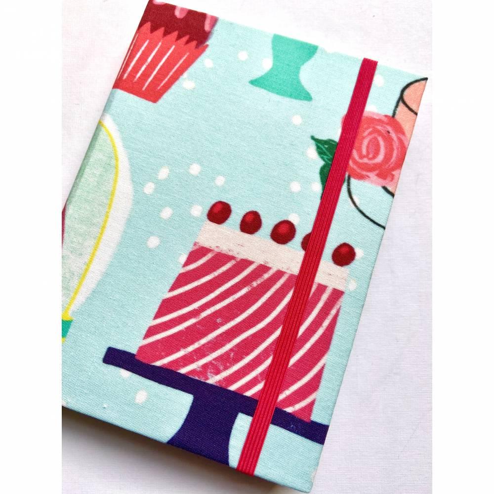 """Notizbuch Rezeptbuch """"My little Bakery"""" etwas kleiner als A5 Sonderformat stoffbezogen Rezepte Backen Geschenk Bild 1"""
