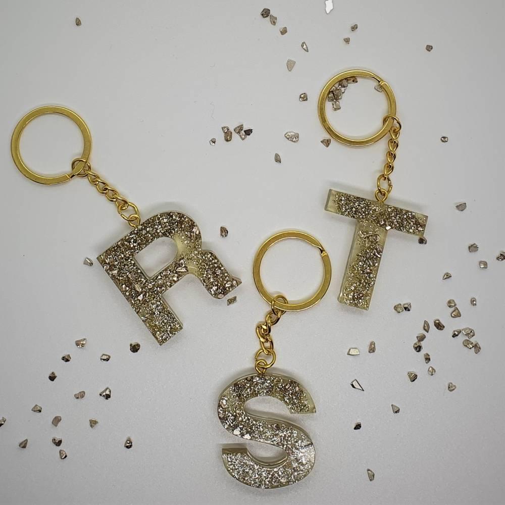 Schlüsselanhänger Buchstaben Harz Resin A-Z gold Steinchen Bild 1