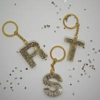 Schlüsselanhänger Schlüsselband Buchstaben Harz Resin A-Z gold Steinchen Bild 1
