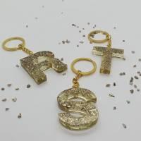Schlüsselanhänger Schlüsselband Buchstaben Harz Resin A-Z gold Steinchen Bild 3
