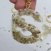 Schlüsselanhänger Schlüsselband Buchstaben Harz Resin A-Z gold Steinchen Bild 4
