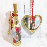 Deko-Set: Leuchtflasche und Bild auf Holz - Herz WEIHNACHTS-KATZE Bild 1