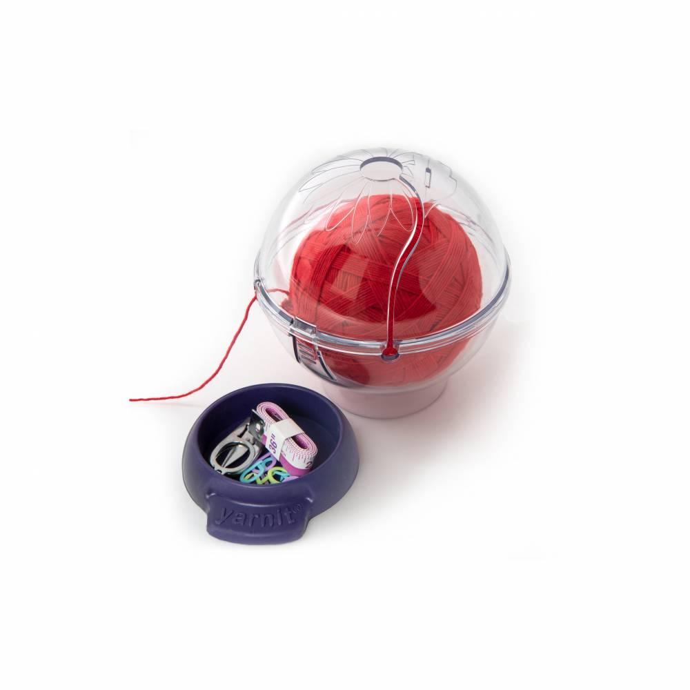 Prym 61184 Wollknäuelhalter ergonomic Wollspender transparent blau Kunststoff Bild 1