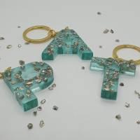 Schlüsselanhänger Schlüsselband Buchstaben Harz Resin A-Z gold Steinchen blau Bild 1