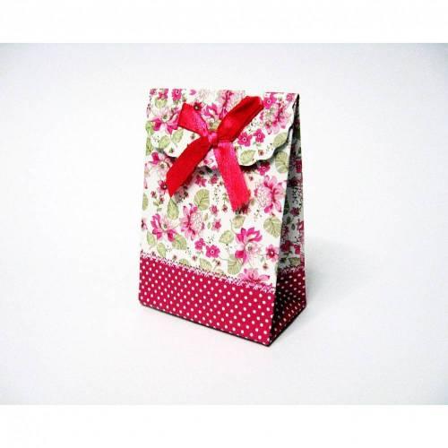 Geschenktasche aus Pappe mit Klettverschluss, Pink mit Blumen Muster Schmuckverpackung, Geschenkverpackung