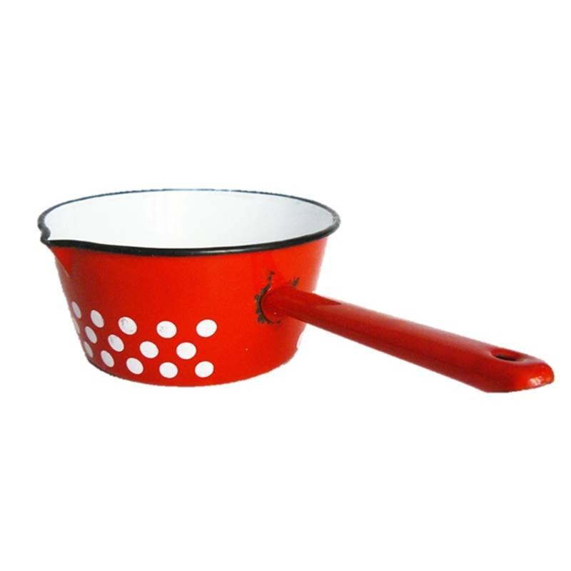 Roter Topf mit weißen Punkten Emaille Vintage Bild 1