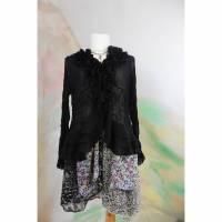 Bluse Chiffon 46 - 48 Jacke Zipfeljacke schwarz gemustert Rüschen Trompetenärmel Übergröße romantisch ausgefallen Bild 1