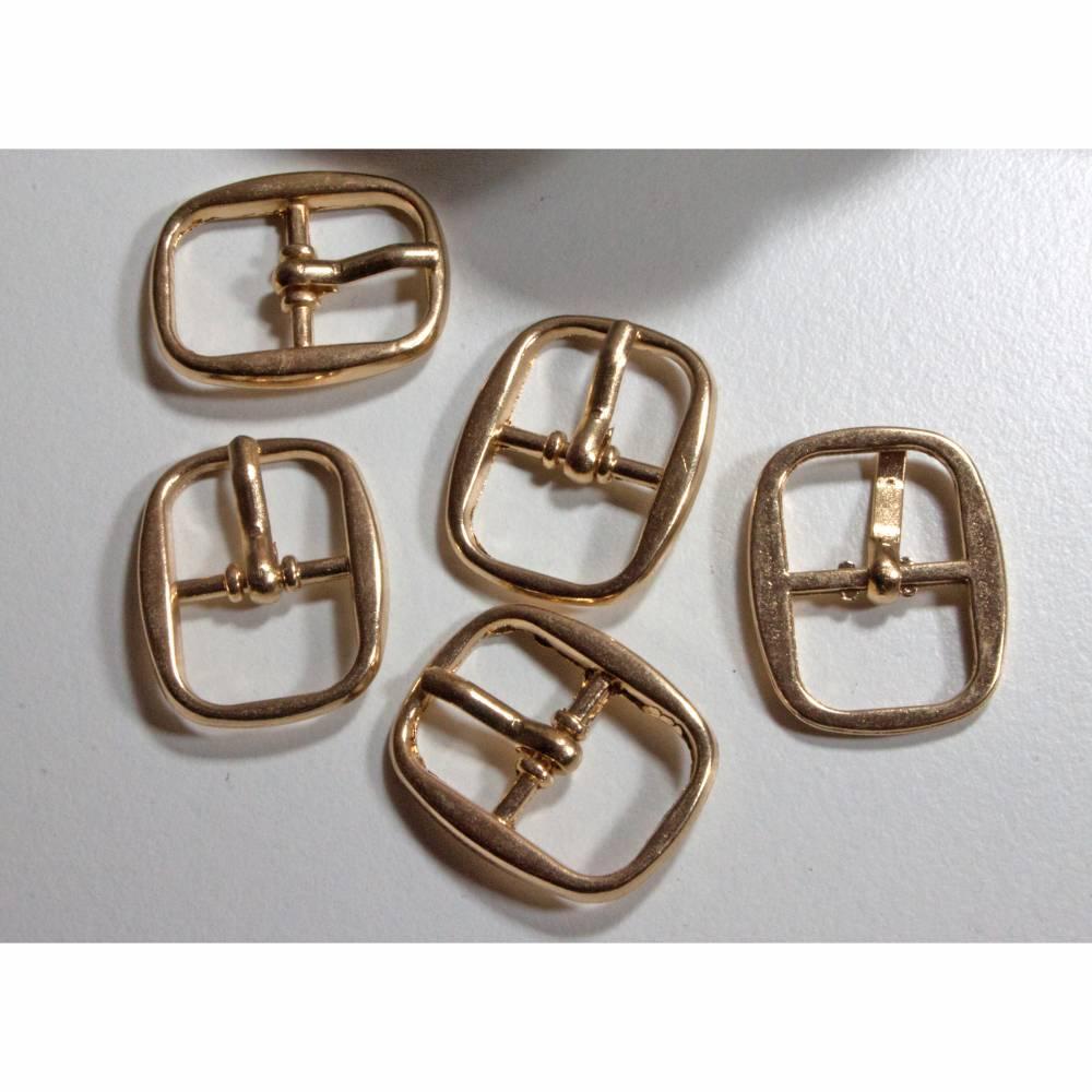 5 Schnallen 12mm goldfarben, Riemchenschnallen, Schuhschnalle, kleine Schnallen, Verschluss, Trödel Dings da Bild 1