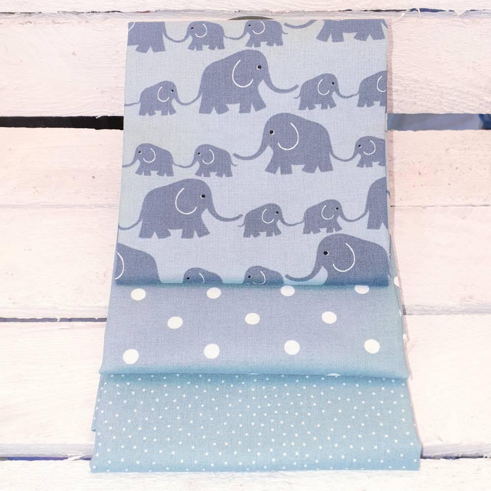 Stoffpaket Nähpaket Westfalenstoff Junge Linie Elefanten Bauwollstoff Zuschnitte Grün Weiß Elefanten Baumwolle Webware  Bild 1