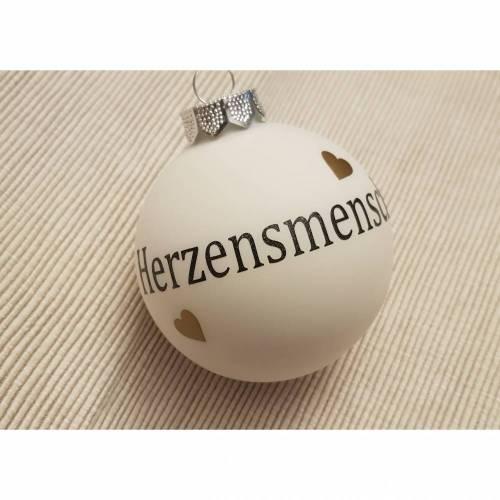 Weihnachtskugel *Herzensmensch* Weiß 8cm Schrift in schwarz - auch individuell nach Wunsch