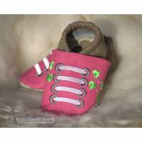 Lederpuschen Krabbelschuhe Babyschuhe Mädchenpuschen Bild 1