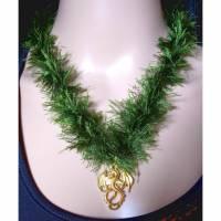 Halsband *Drache* Halsschmuck aus gedrehter Wolle mit Anhänger Bild 1