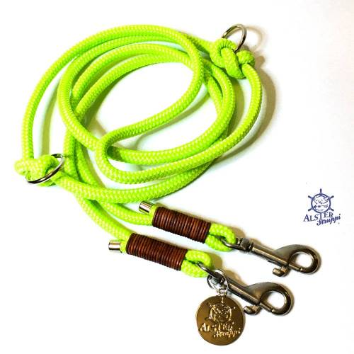 Hundeleine verstellbar pistaziengrün, braunes Leder, verschiedene Taustärken möglich