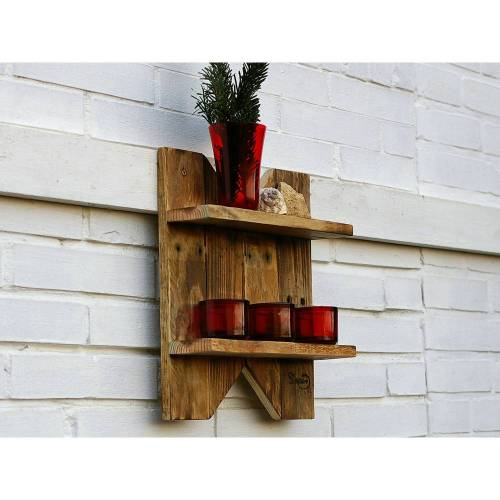 Wandregal aus Palette, Holzregal, geflämmt,  Palettenholz Regal, Regal für Vasen, Palettenmöbel, einzigartig, Holz, Wohn