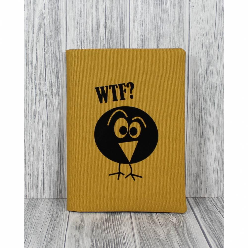 Notizkladde Kladde Hülle Notizbuch Notizen Plott Comic Vogel WTF Senf Senffarben Beplottet Flockfolie Witzig Spruch Statement Bild 1