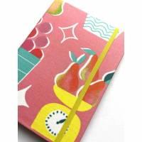 """Notizbuch Rezeptbuch """"Fruit Stand"""" etwas kleiner als A5 Sonderformat stoffbezogen Rezepte Backen Kochen Geschenk Bild 1"""