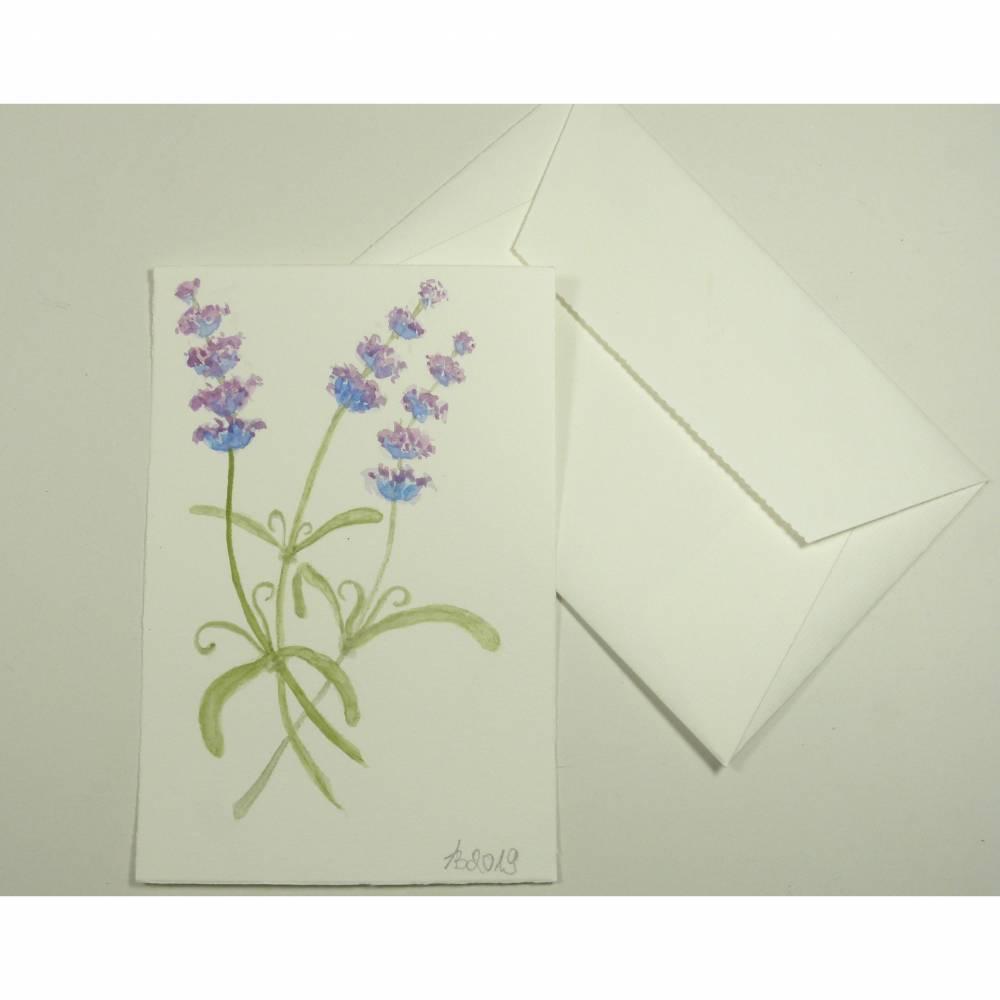 Grußkarte, Original Aquarell 10 x 15 cm, Lavendel, handgemalt, pastell, Gruß Karte mit Umschlag Bütten, Brief Kuvert.  Bild 1