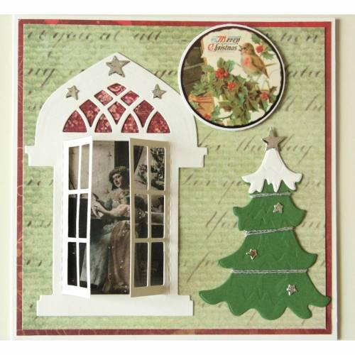 Nostalgische Weihnachtskarte  Klappkarte  Weihnachtsbaum Vogel
