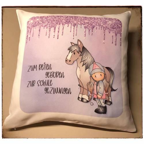 Kissen mit Pferd und Reiterin