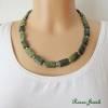 Edelstein Kette Jaspis rechteckig grün goldfarben Edelsteinkette kurz Collier Bild 1