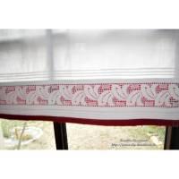 echt vintage weiße Spitzengardine, l 73 cm, b 73 cm,  Landhausgardine mit Tunneldurchzug, Scheibengardine, Vorhang, Unikat Bild 1