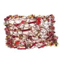 Kunstperlen Armband rot und goldfarben gehäkelte Handarbeit Bild 1
