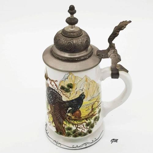 vintage 80er Jahre Weinkrug oder Bierkrug, handdekoriert Krug mit Henkel und mit 95% Zinndeckel, Sammelobjekt