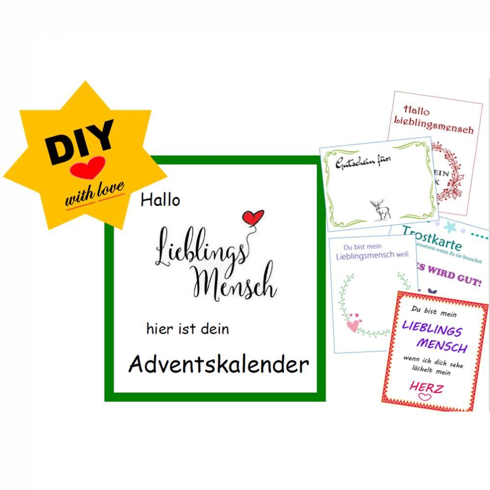 DIY Lieblingsmensch Adventskalender zum selbst Ausdrucken, PDF Datei, Ebook Bild 1
