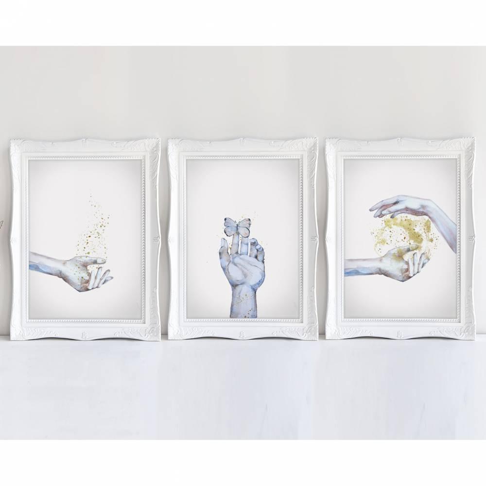 3er SET oder EINZELN HÄNDE- A4 / A3 - Kunstdruck  Bild 1